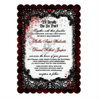Blood Splattered Wedding Together With RECEPTION Card