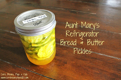 Aunt Mary's Refrigerator Bread & Butter Pickles - the perfect quick, easy and crunchy sliced pickle for any sandwich #FarmersMarketWeek