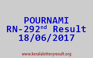 POURNAMI Lottery RN 292 Results 18-6-2017