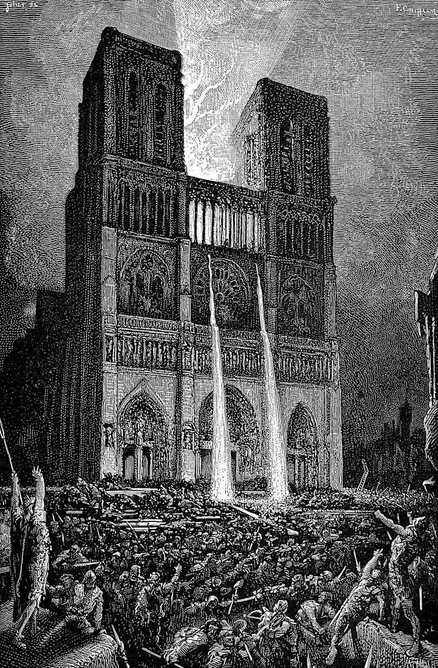 a Victor Hugo illustration for a Victor Hugo book, church repelling the crowds