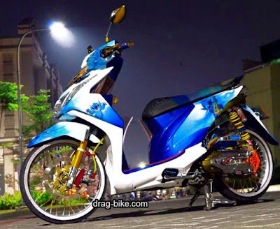 Modif Beat FI Putih Biru Airbrush Simple Jari Jari