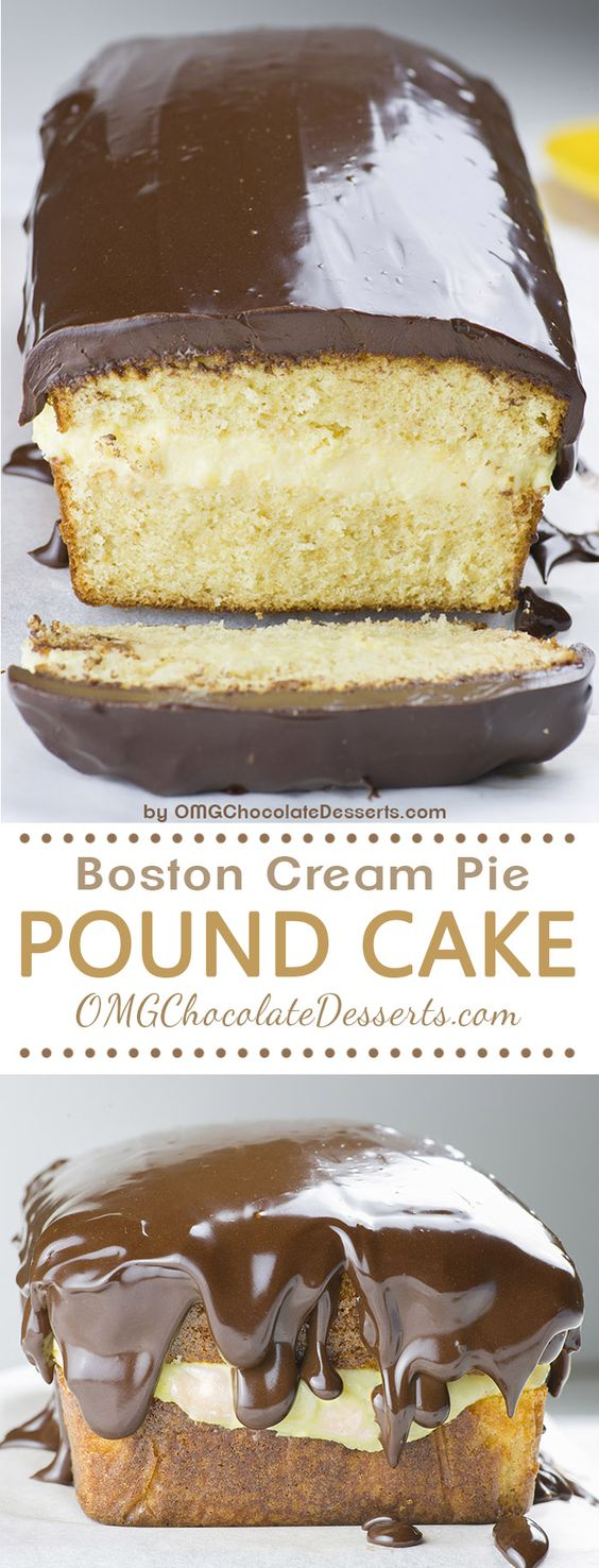 Boston Cream Pie Pound Cake – magnificent, smooth and creamy filling with vanilla flavor sandwiched between two cake layer, topped with fudgy and rich chocolate ganache layer is winning combo! You get both vanilla and chocolate in one mouthwatering treat (similar ingredients to this Magic Custard Cake recipe)! You'll satisfy almost every taste, and that's why this Boston Cream Pie Pound Cake is great idea for Thanksgiving or Christmas dessert!