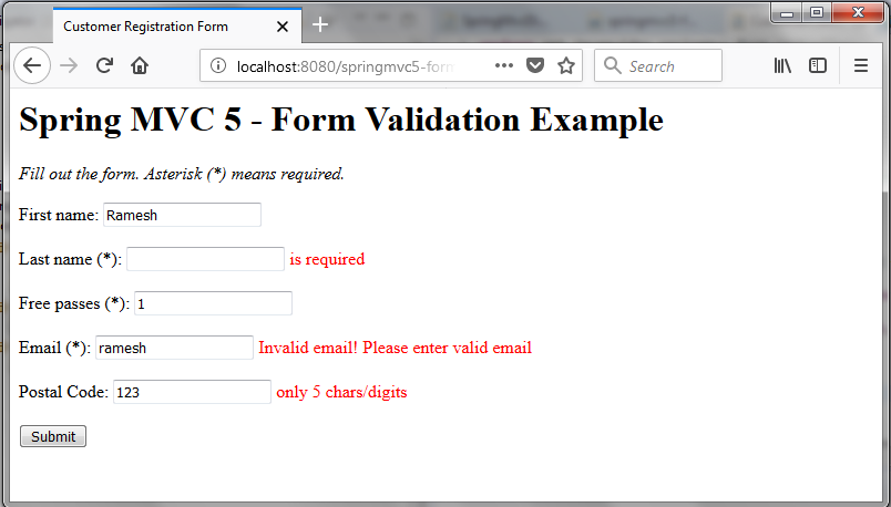 Spring MVC 5 Form Validation with Annotations Tutorial