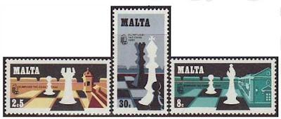 Tres sellos conmemorativos de la Olimpiada de Malta 1980