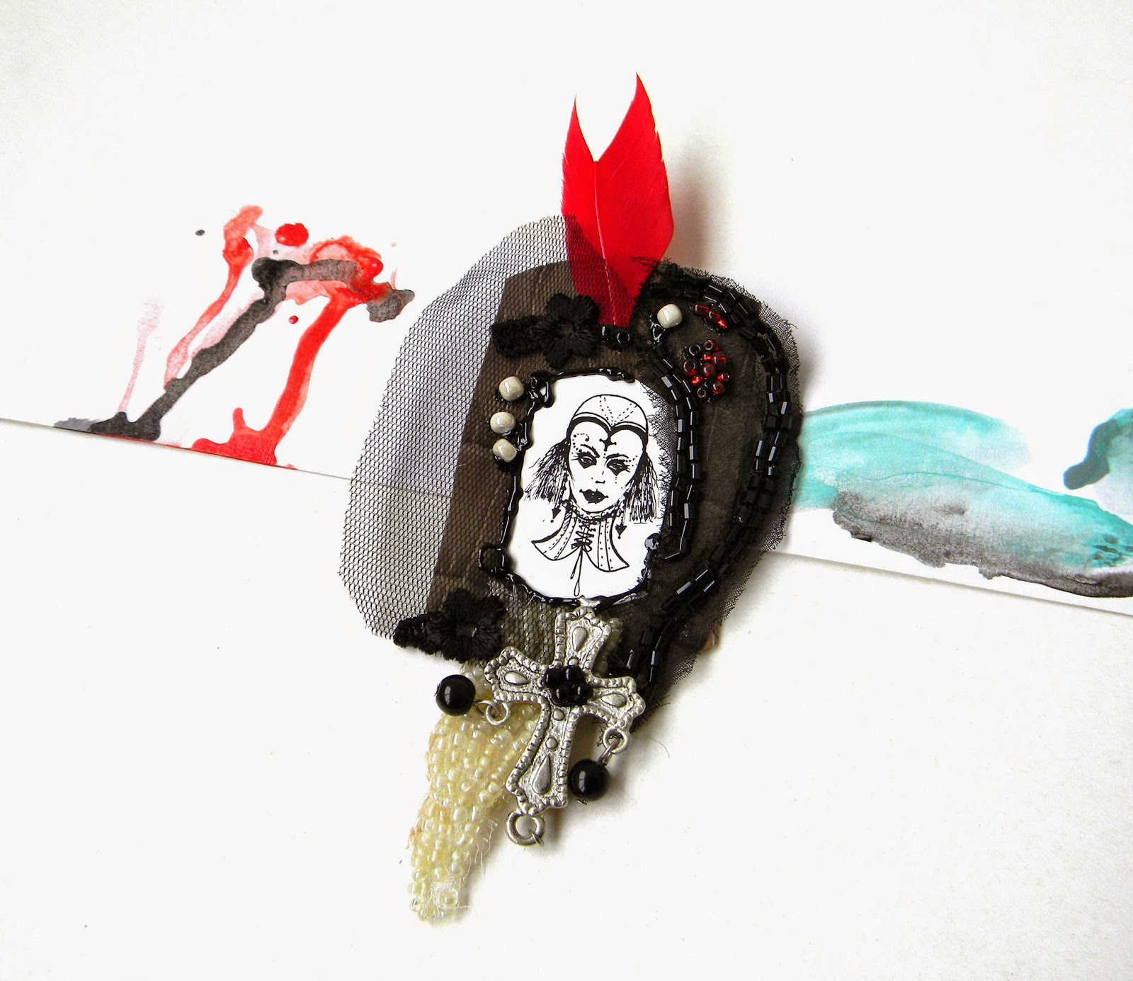 Satement Goth Brooches in Black Ivory and Red with Original Illustrations