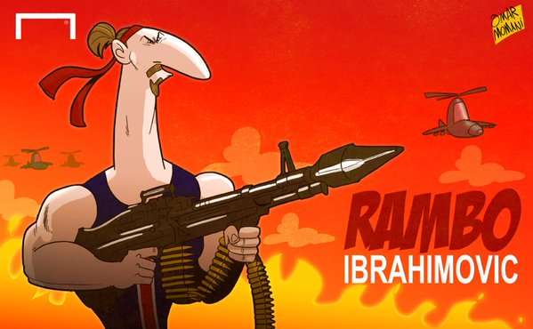 Zlatan Ibrahimovic Rambo cartoon