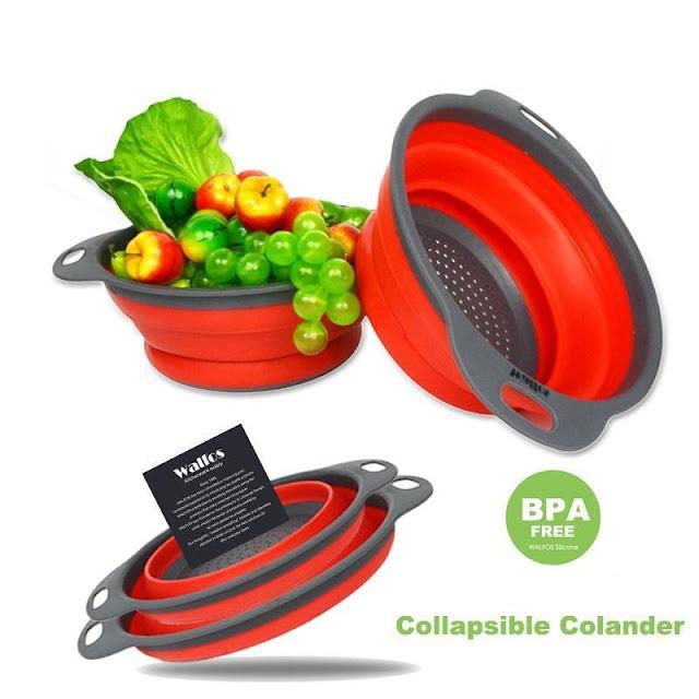 2 Piece: Collapsible Silicon Kitchen Strainer / Washing Basket