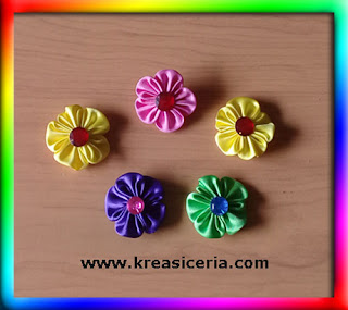 Tutorial Cara Membuat Bross Bunga Kanzashi Sederhana