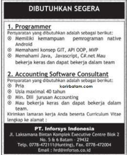 Lowongan Kerja PT. Inforsys Indonesia