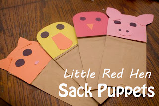 The Little Red Hen Sack Puppets