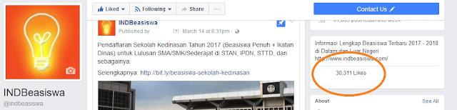 promosi murah website indbeasiswa jumlah like facebook