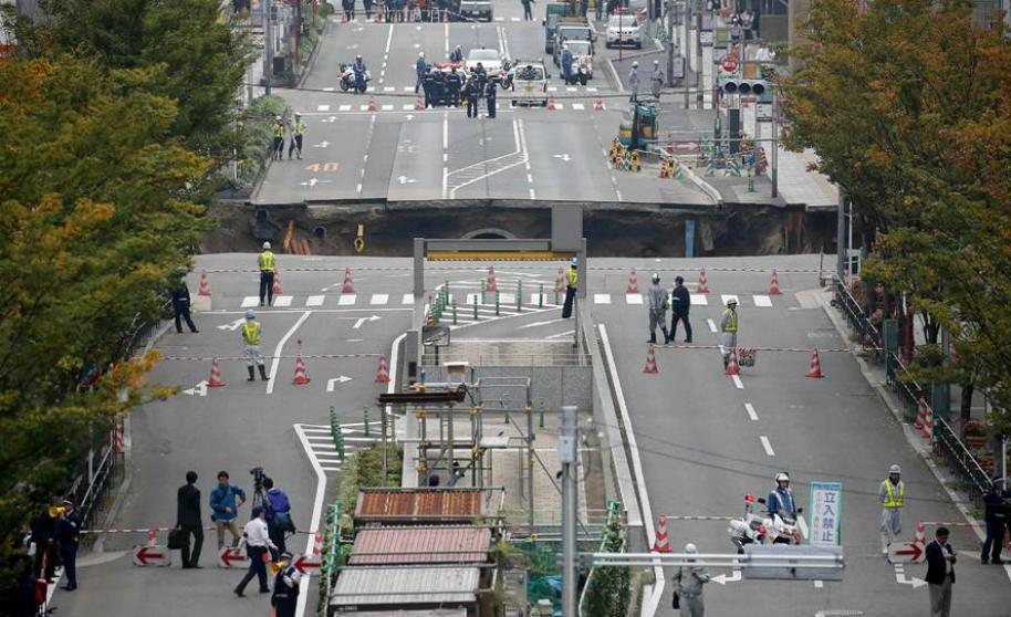 El masivo boquete en Japón. FOTO: EFE