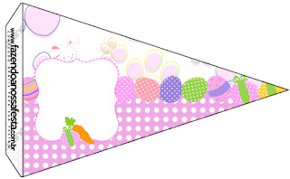 Easter Bunny with Pink and White Squares: Free Party Printables.