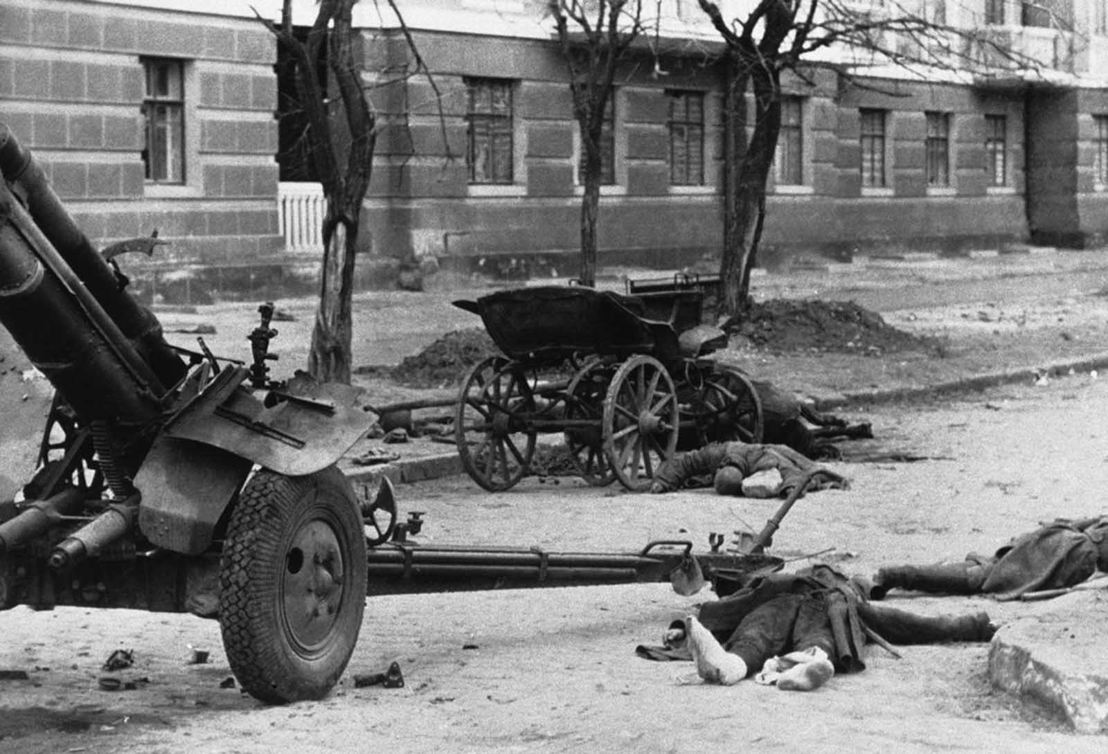 Evidence of Soviet resistance in the streets of Rostov, a scene in late 1941, encountered by the Germans as they entered the heavily besieged city.