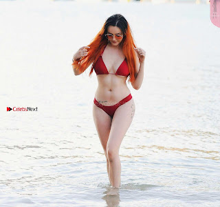 Sarah Goodhart sexy Red Head Babe Amazing Figure Hot Ass Lovely Shape Amazing Boobs in Red Bikini Must See