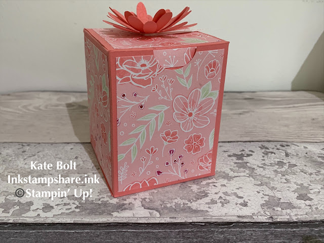 Pretty candle gift box, hand made in Pink with Daisy topper and You Tube Tutorial
