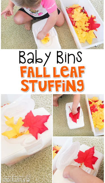 This leaf stuffing activity is great for a fall theme and is completely baby safe. These Baby Bin plans are perfect for learning with little ones between 12-24 months old.