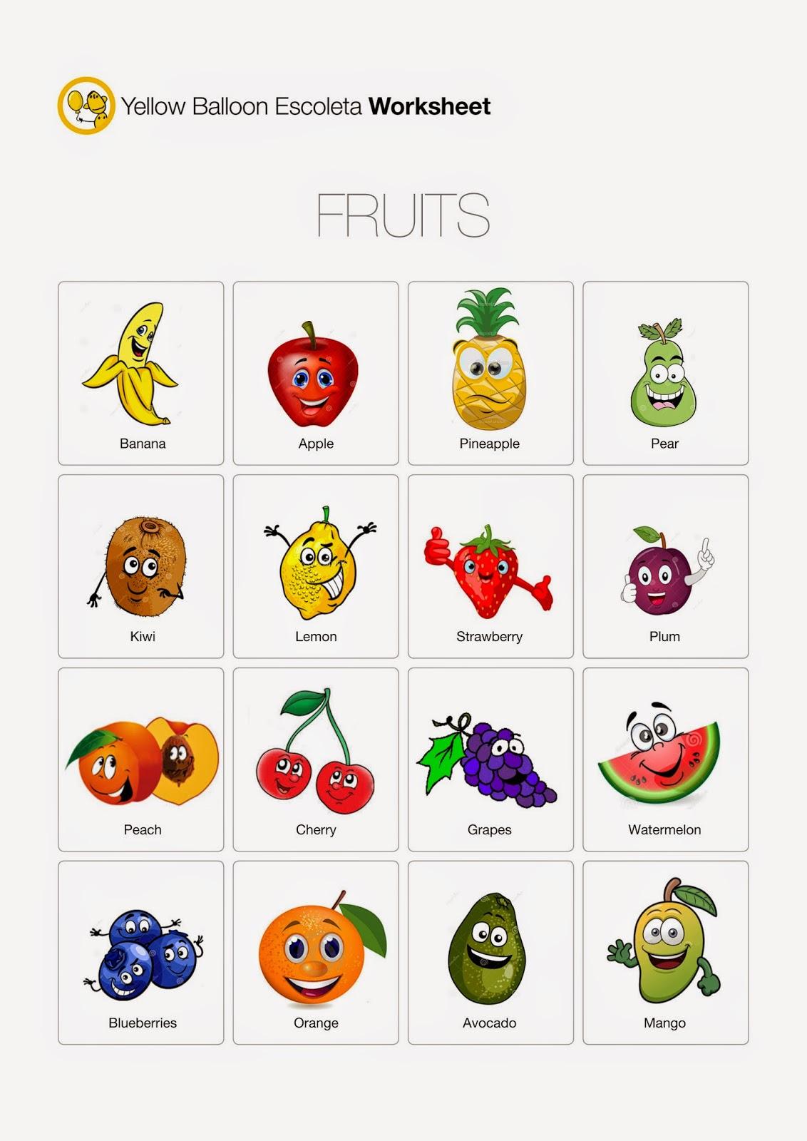 Yellow Balloon Escoleta Fruits Worksheet