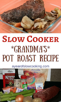 Exactly how Grandma would have made her pot roast! No packets -- just delicious slow cooked awesomeness. For a more pronounced flavor, take the time to brown the meat. This is company worthy pot roast!