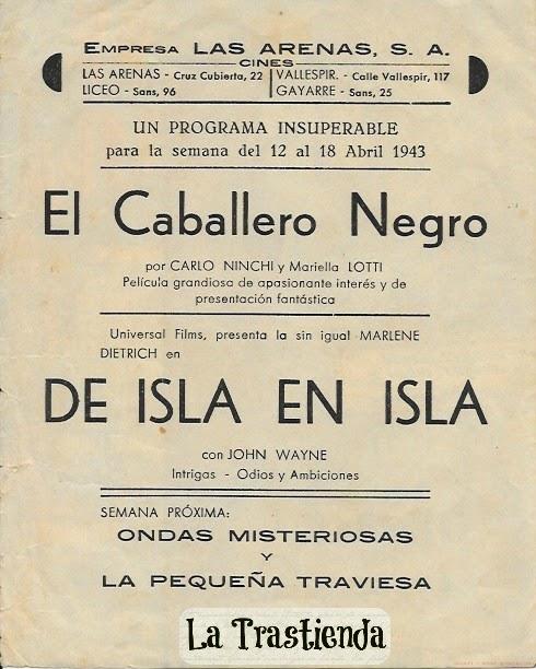 De Isla en Isla - Folleto de cine - Marlene Dietrich - John Wayne