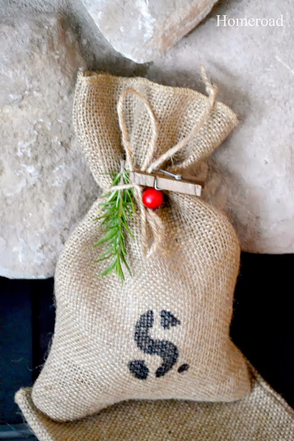 burlap gift bag with S and berry