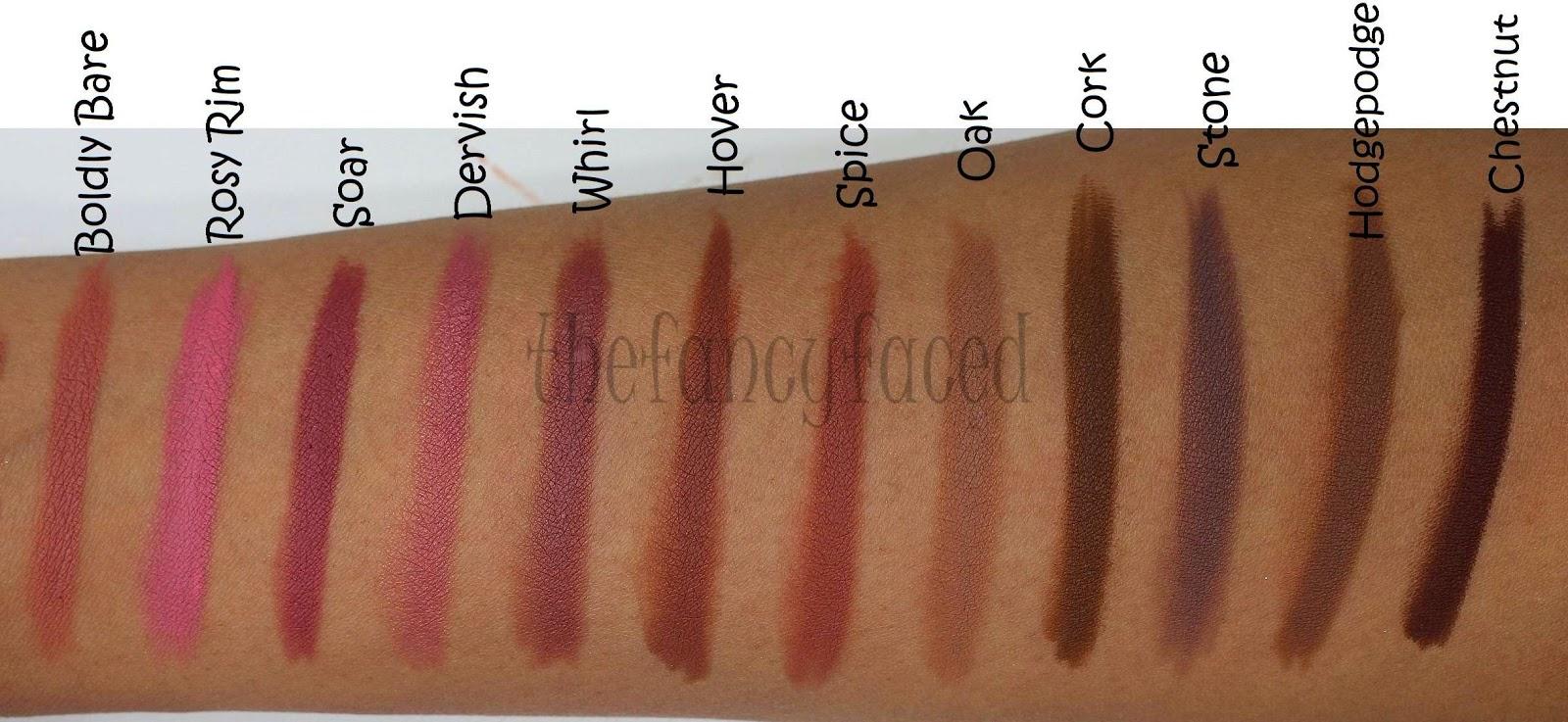 the fancy face review swatch fest mac lip pencils oranges reds purples plums nudes