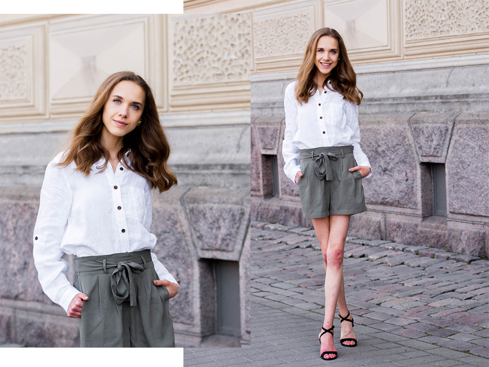 safari-chic-summer-outfit-inspiration-fashion-blog-white-linen-shirt-green-paperbag-waist-trousers