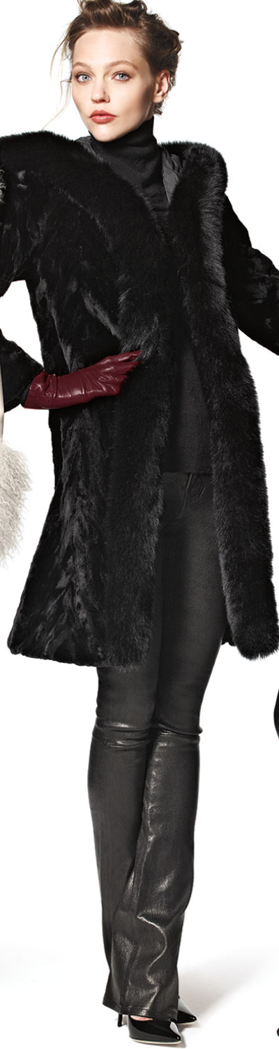 Trilogy Collections by Michael McCollom Hooded Reversible Fur-Trim Coat