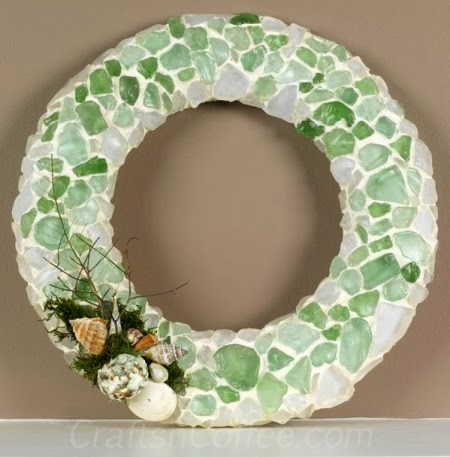 wreath made with sea glass and grout
