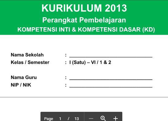 KI Dan KD Kurikulum 2013 PJOK SD Kelas 1- 6 Revisi 2016