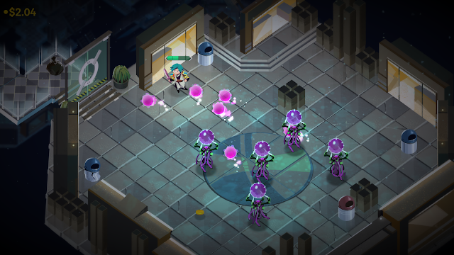 The player character in a dungeon, fighting several monsters.