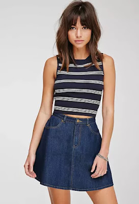 Ribbed stripe crop top, $12.53 from Forever 21