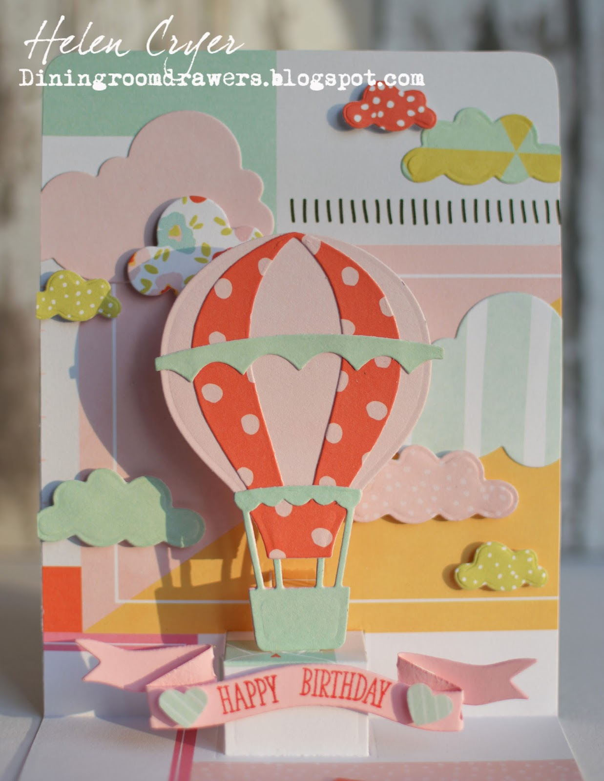 The dining room drawers pop up hot air balloon birthday card we r the banner die is from an old papertrey ink set stitched sentiments and the stamp is also from papertrey ink april mini stamp set bookmarktalkfo Image collections