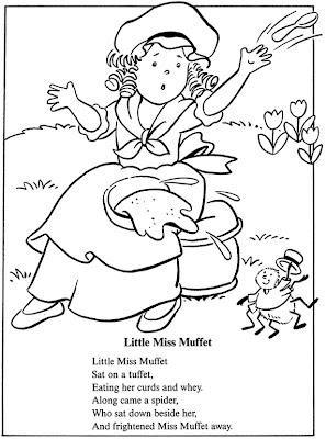 Coloring pages nursey rhymes ~ inkspired musings: Little Miss Muffet, Tuffets and fun ...