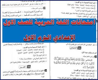امتحانات اللغة العربية للصف الاول الاعدادى الترم الاول