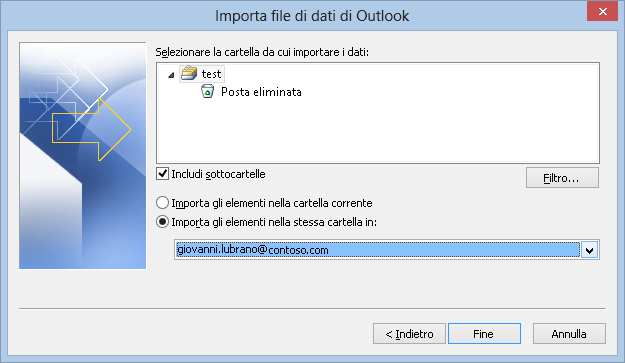 Importa file di dati di Outlook