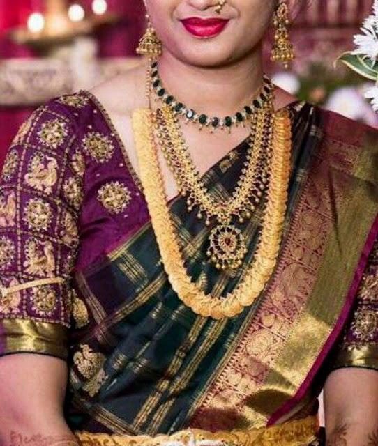 Bride in Heavy Kasu Mala Emerald Set