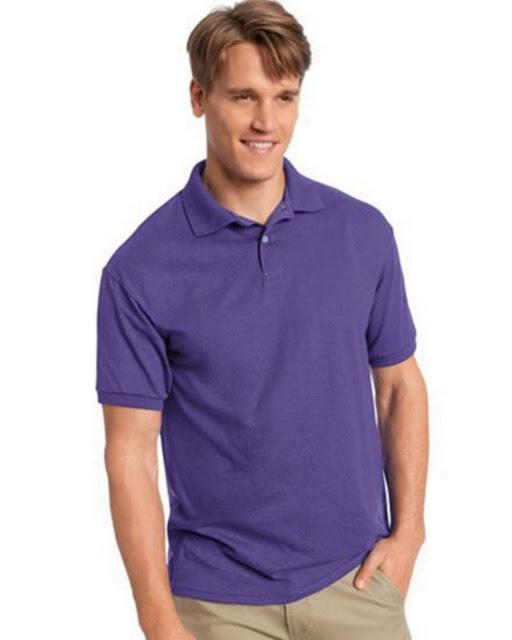 Hanes 054X Mens Comfortblend Jersey Polo -Purple – M