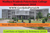 Madhya Pradesh Government Women Polytechnic College Recruitment 2018 – 82 Master Trainer, Assistant Instructor & Women trainee