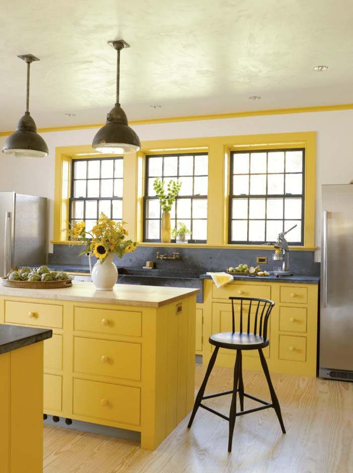 sarı renk mutfak dolap modelleri