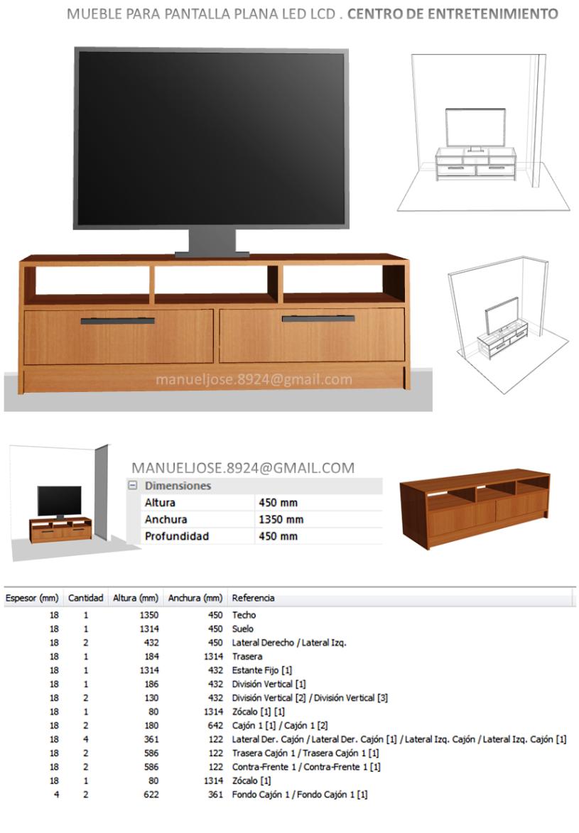 Dise o de muebles madera dise os construir mueble para tv pantalla plana led lcd centro de - Mueble tv estrecho ...