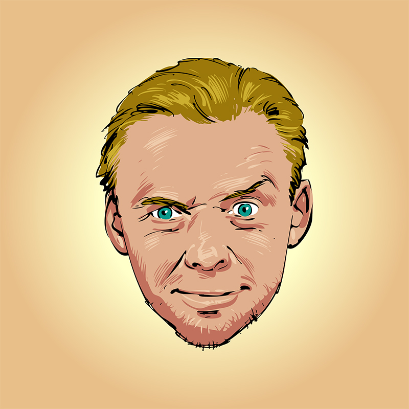 Simon Pegg vector caricature portrait