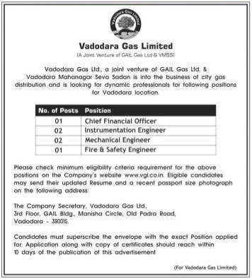 Vadodara Gas Limited Various Recruitment 2016