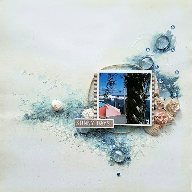 Scrapbook Mixed Media Layout Video Tutorial Ocean by Jessica McFall