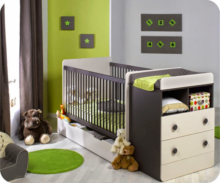 Dormitorios para bebs en verde y gris  Ideas para