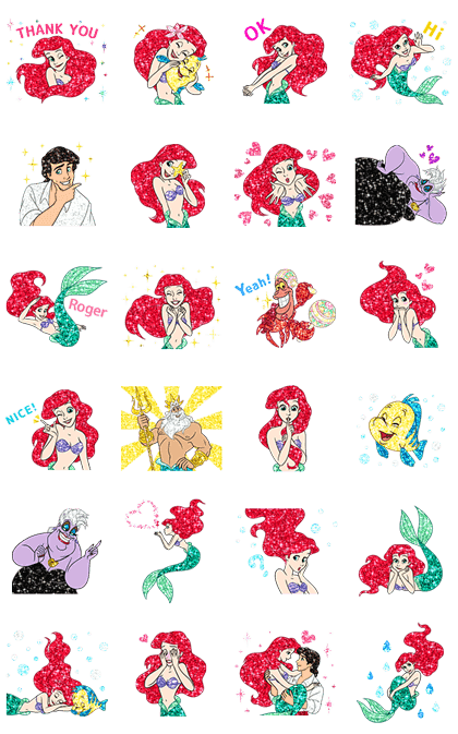 The Little Mermaid Sparkling Stickers
