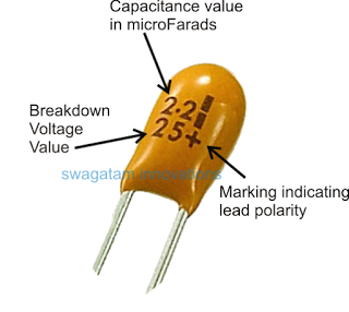 Markings tantalum capacitor