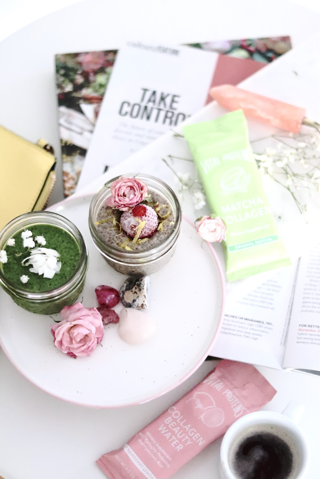 Beauty Boosting Collagen Chia Breakfast with Vital Proteins Matcha Strawberry Lemon Collagen