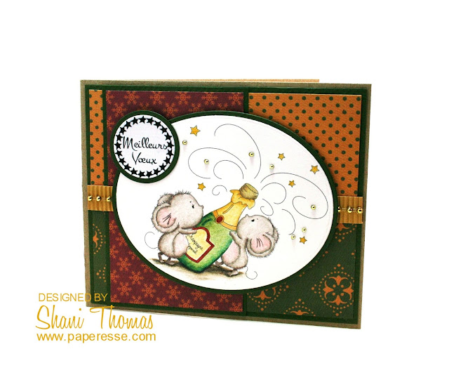 Meilleurs Voeux Christmas/New Year card featuring Di's Digi Stamps Champagne Mice stamp, by Paperesse.