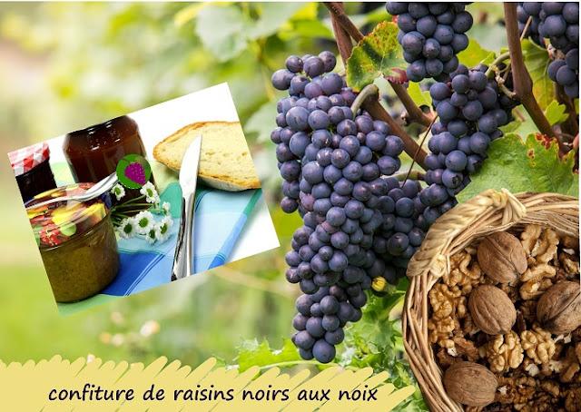 confiture de type mrozilla, aux raisins noirs et noix